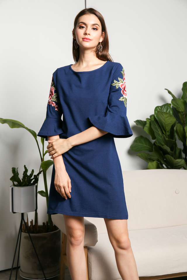 Glenda Floral Patch Dress in Denim