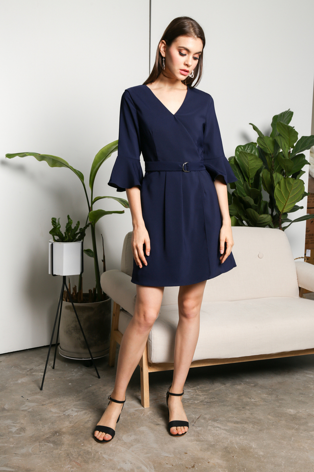 Genette Bell Sleeve Dress in Navy
