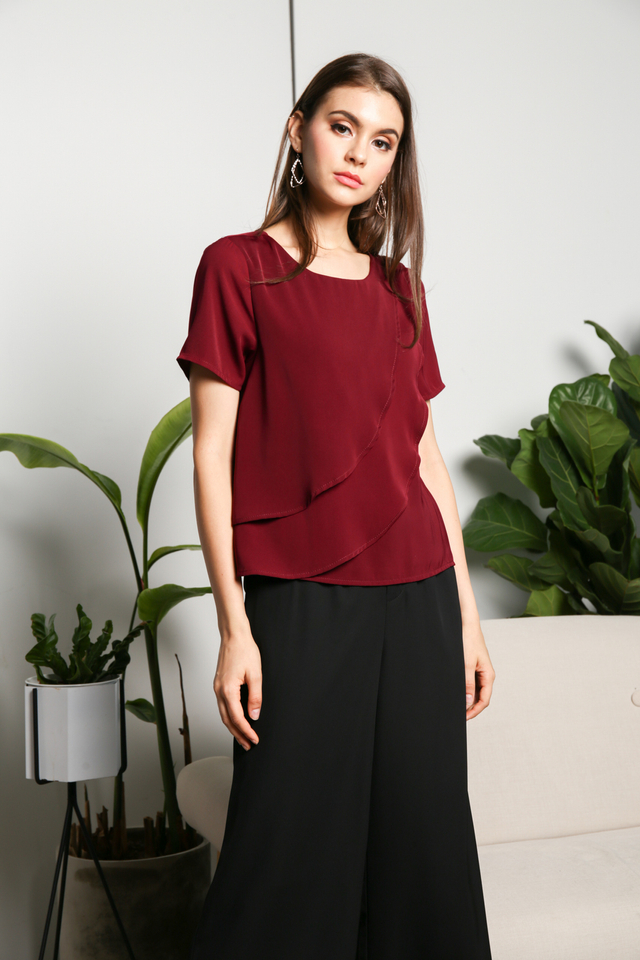 Heidi Layered Asymmetrical Top in Wine