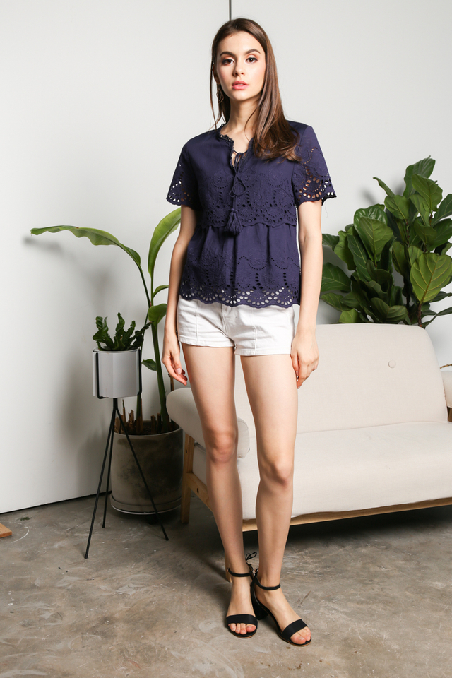 Gilda Eyelet Babydoll Top in Navy