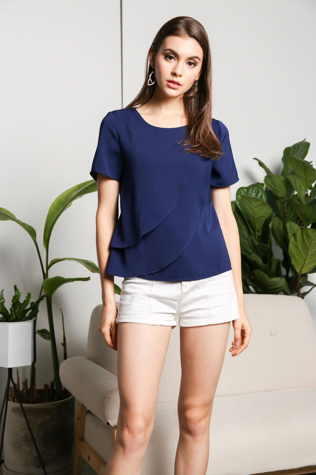 Heidi Layered Asymmetrical Top in Navy