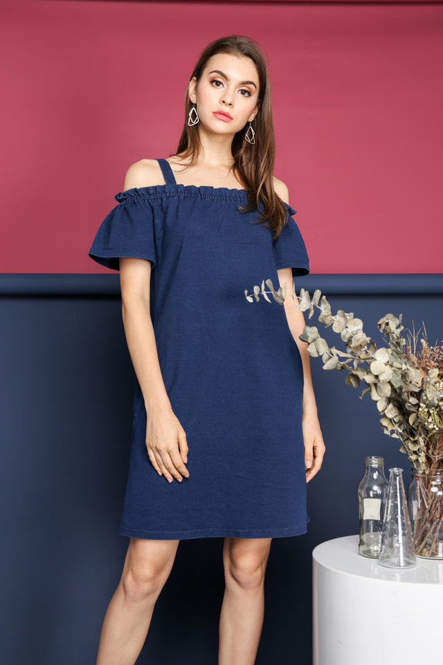 Hera Cold Shoulder Dress in Blue Denim