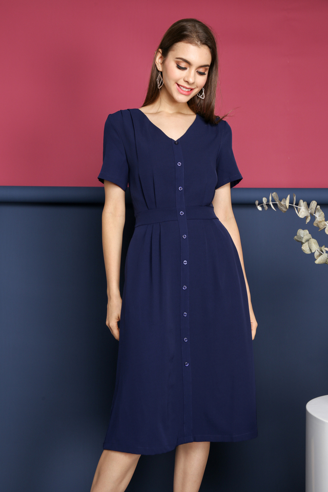 Valeria Faux Button Midi Dress in Navy