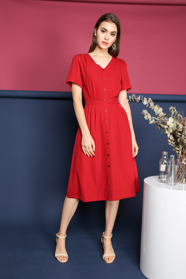 Valeria Faux Button Midi Dress in Red (XS)