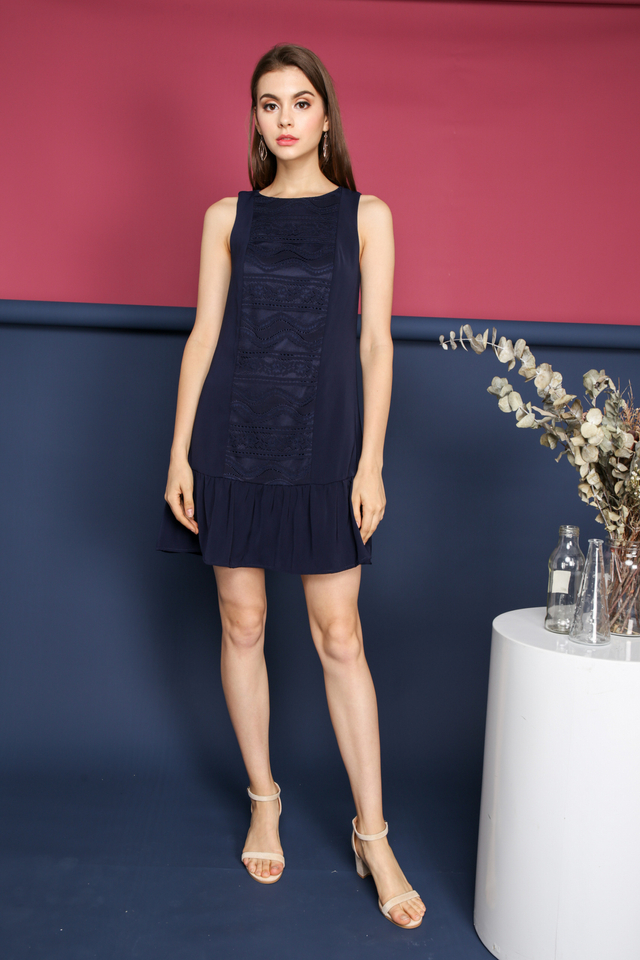 Kanya Lace Panel Dropwaist Dress in Navy