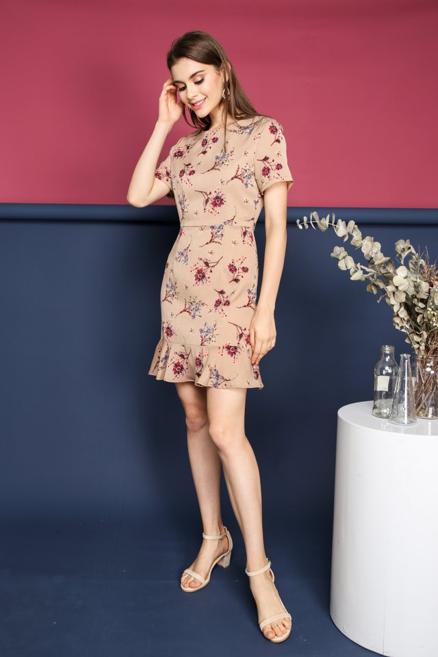 Lea Floral Dropwaist Dress in Tan