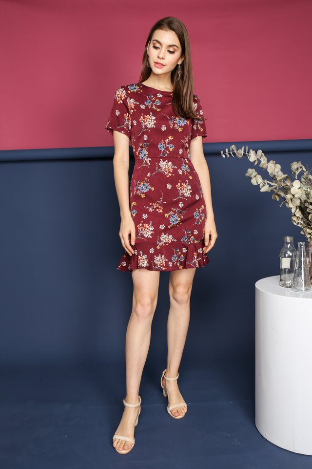 Lea Floral Dropwaist Dress in Maroon