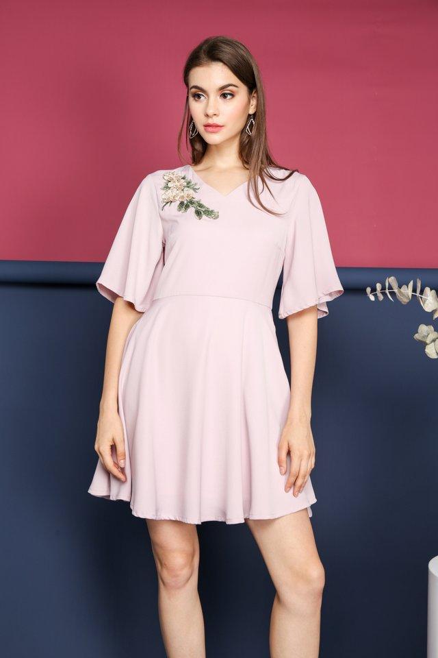 Celine Floral Skater Dress in Pink