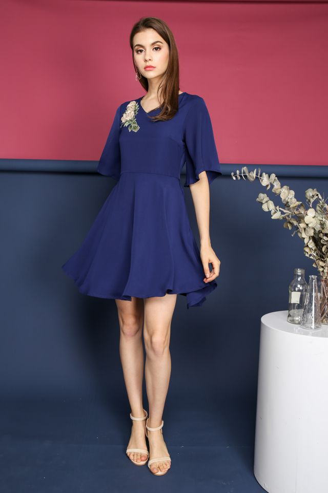Celine Floral Skater Dress in Navy (XS)