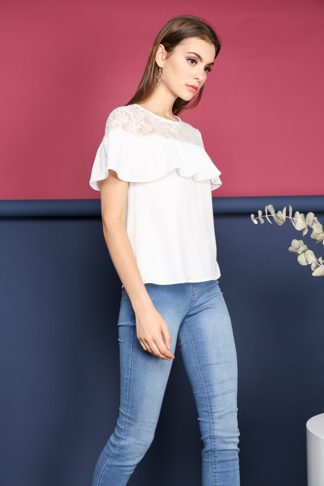 Janessa Lace Neckline Top in White (L)