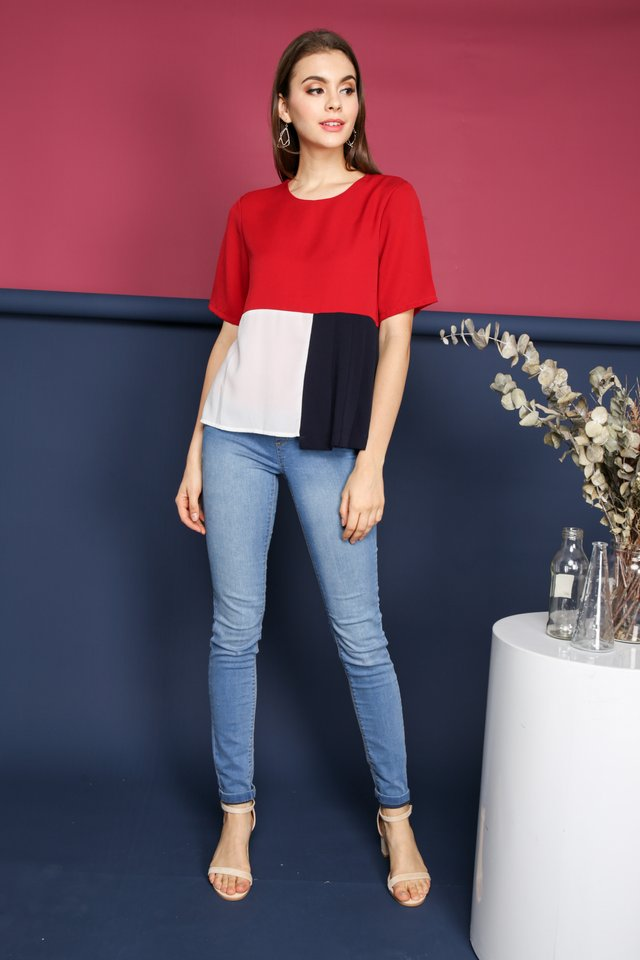 Robyn Colourblock Top in Red (S)