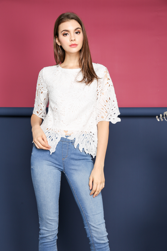 Imelda Crochet Leaf Top in White