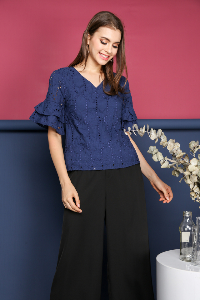Janice Eyelet Layer Sleeve Top in Navy