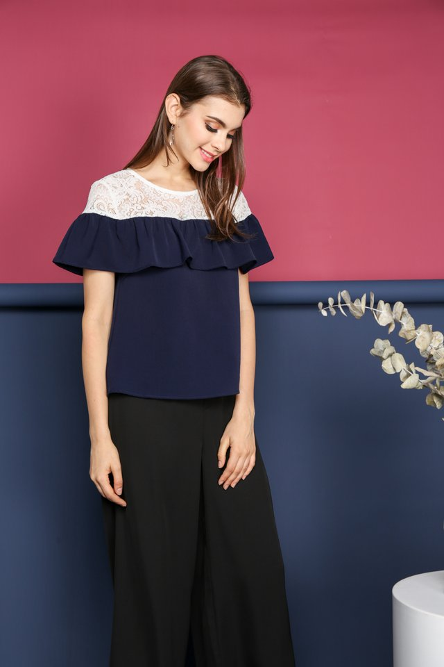 Janessa Lace Neckline Top in Navy (XS)