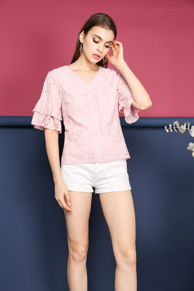 Janice Eyelet Layer Sleeve Top in Pink