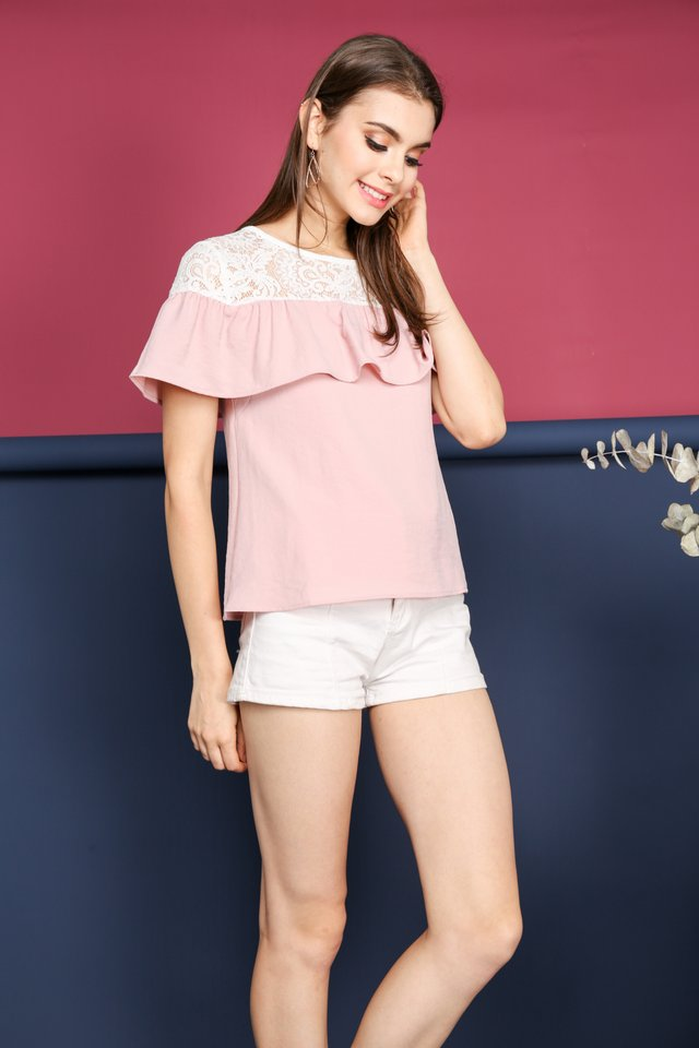Janessa Lace Neckline Top in Pink