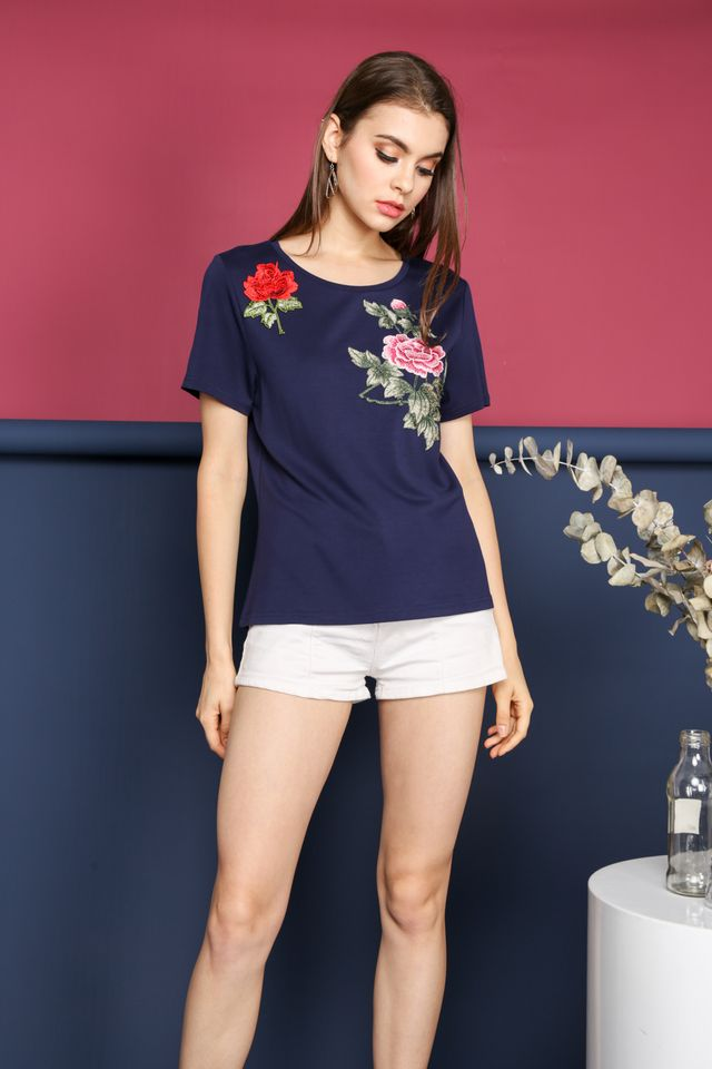 Simone Floral Patch Top in Navy