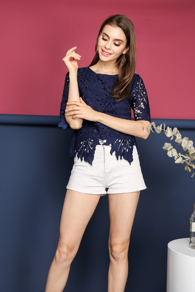 Imelda Crochet Leaf Top in Navy