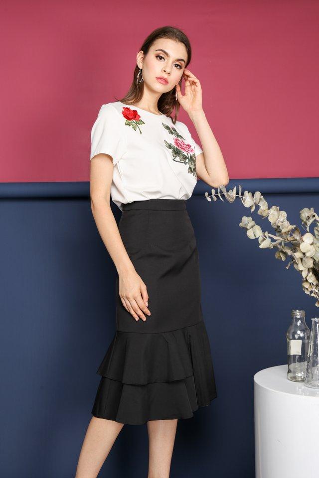 Alisha Side Pleats Midi Skirt in Black