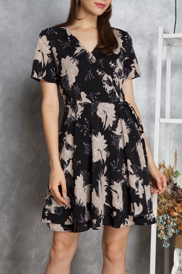 Sheila Floral Dress in Beige