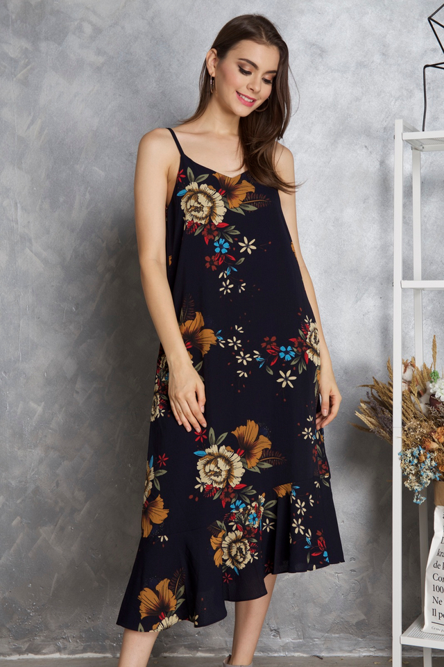 Kerry Slip On Midi Dress in Navy Blue