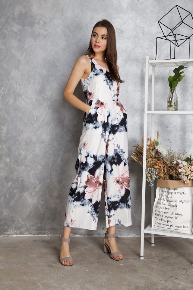 Keisha Floral Jumpsuit in White