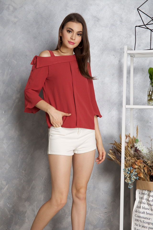 Lana One Shoulder Sleeve Top in Terracotta
