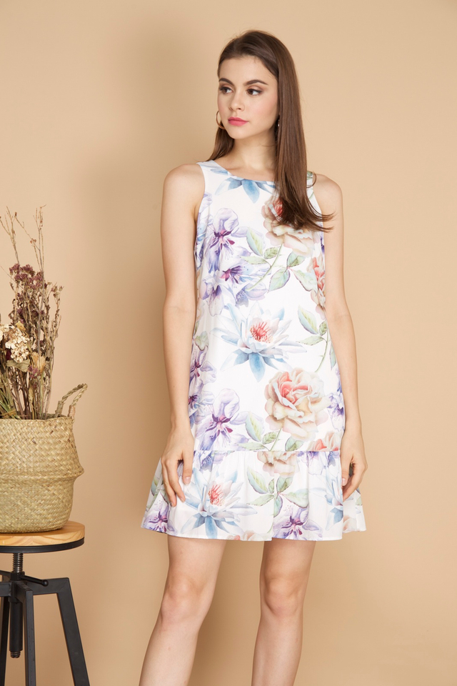 Dixie Floral Dropwaist Dress in White
