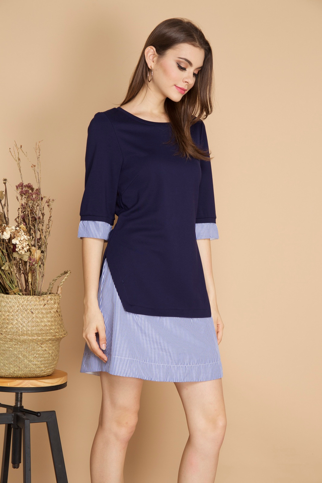 Yuna Stripe Hem Dress in Navy