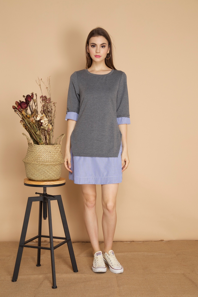 Yuna Stripe Hem Dress in Grey