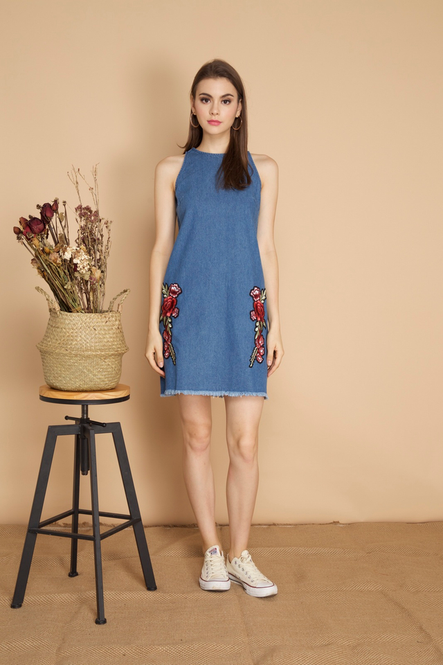 Elora Rose Patch Denim Dress in Dark Blue