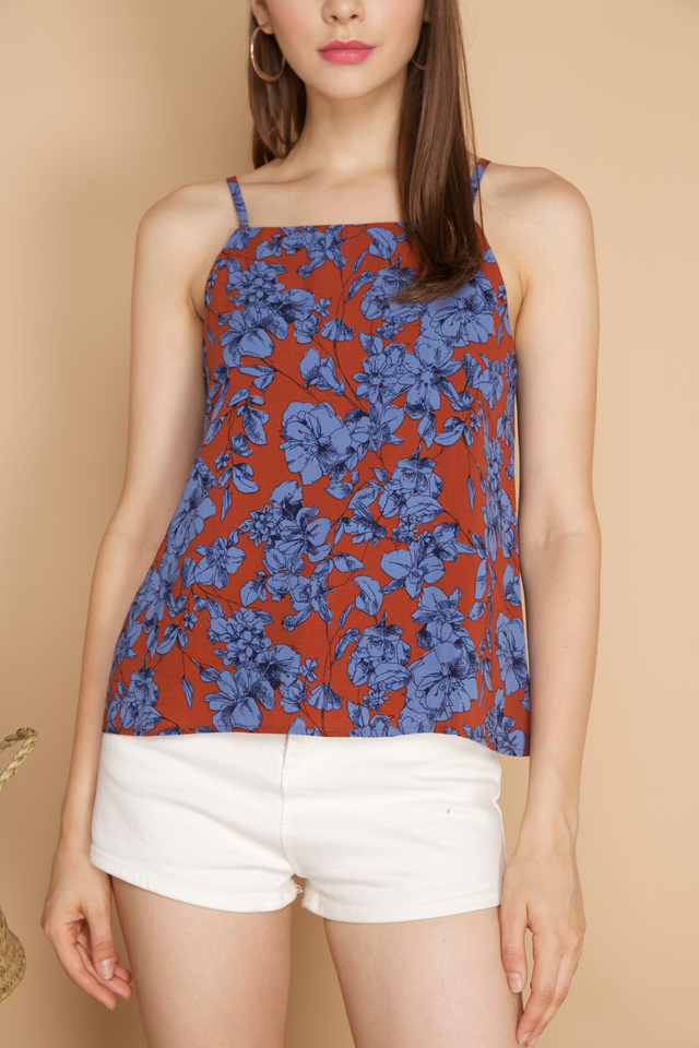 Kiana Floral Camisole in Burnt Orange