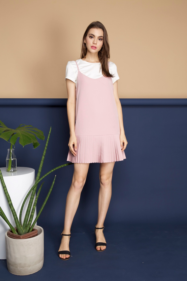Bianca Two Piece Pleated Hem Dress in Pink (S)