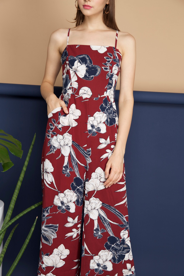 Yasmin Floral Flare Jumpsuit in Maroon