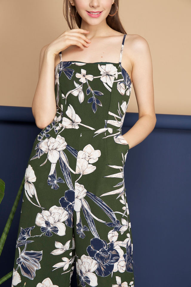 Yasmin Floral Flare Jumpsuit in Forest Green