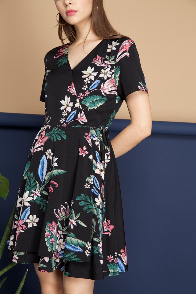 Sheila Floral Dress in Black Tropicals