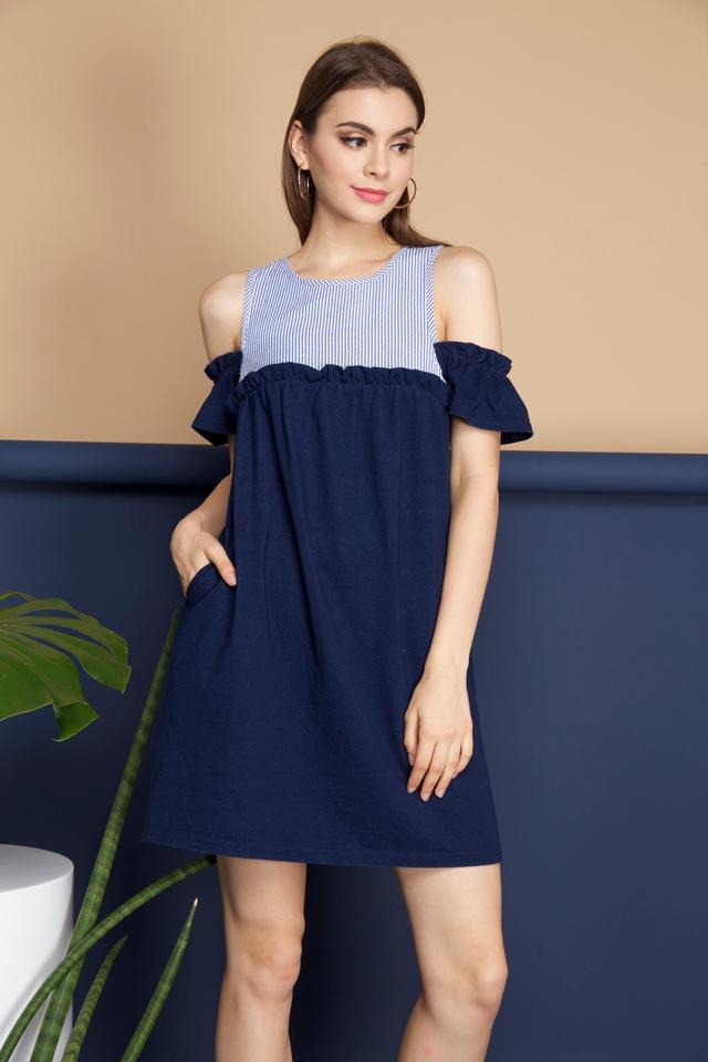 Beth Babydoll Cold Shoulder Dress in Denim Blue (L)