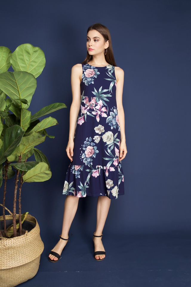 Vena Floral Midi Dress in Navy
