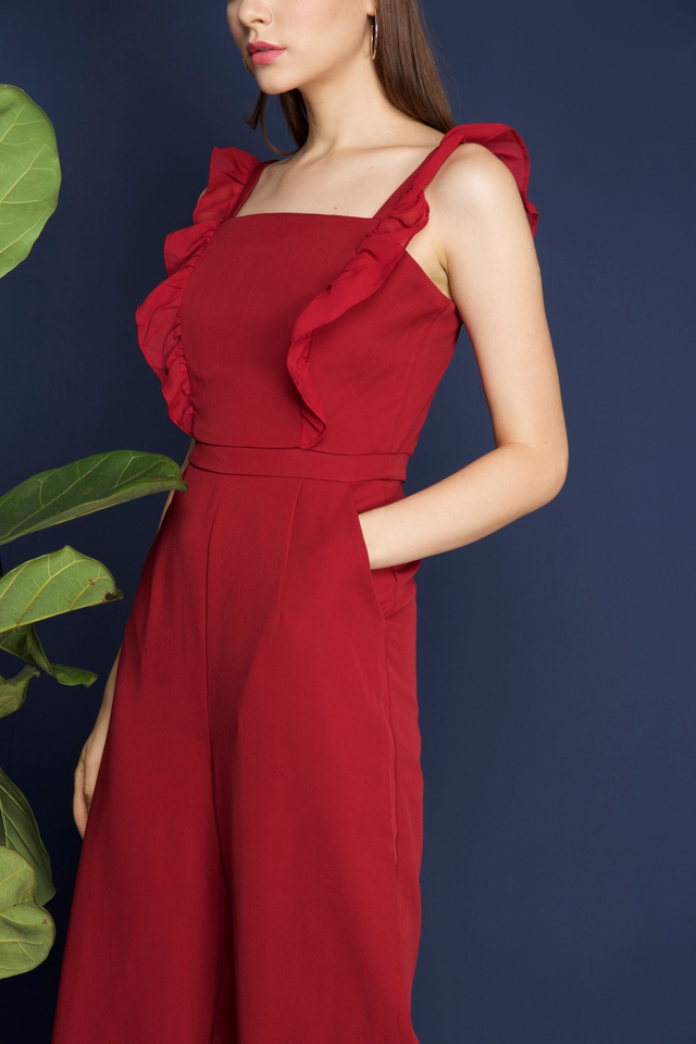 Tanisha Ruffled Jumpsuit in Red