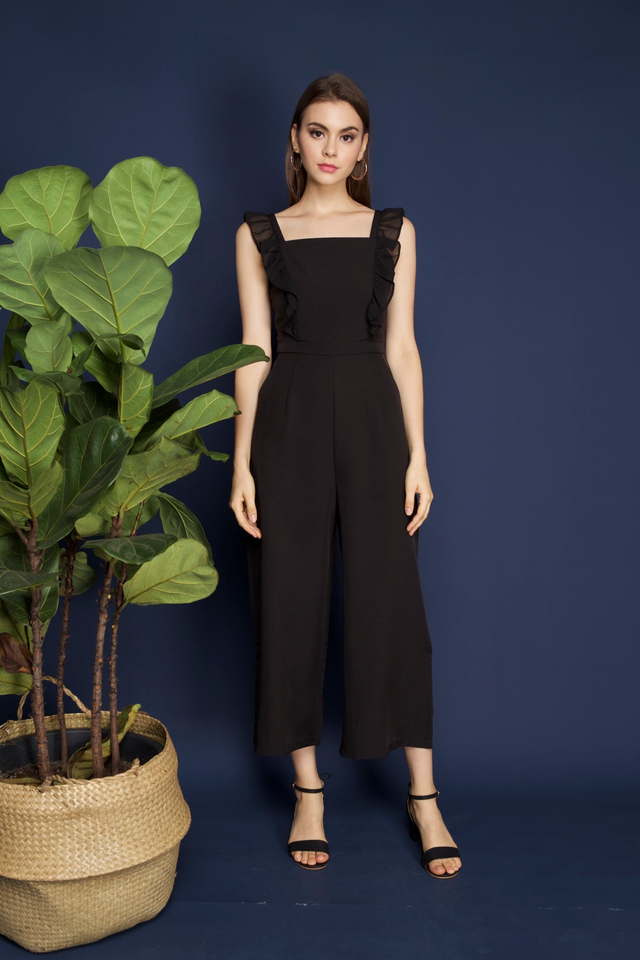 Tanisha Ruffled Jumpsuit in Black