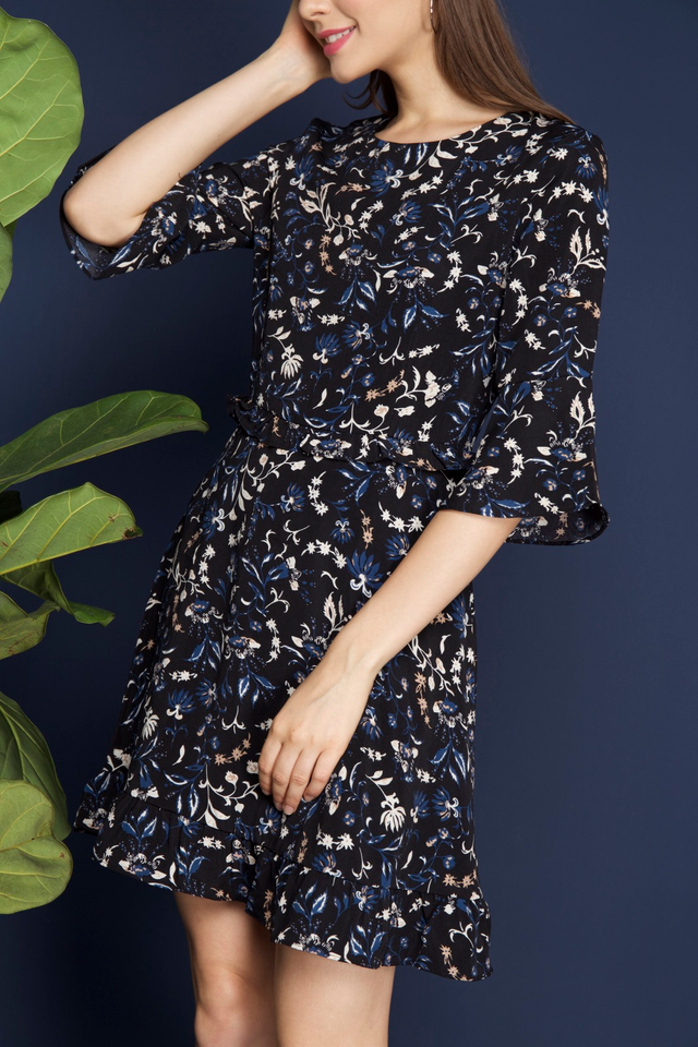 Saffron Floral Bell Sleeve Dress in Black