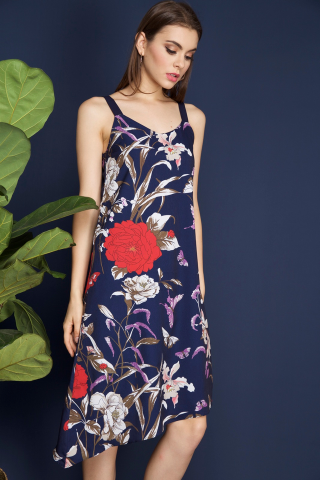 Verona Slanted Hem Midi Dress in Navy