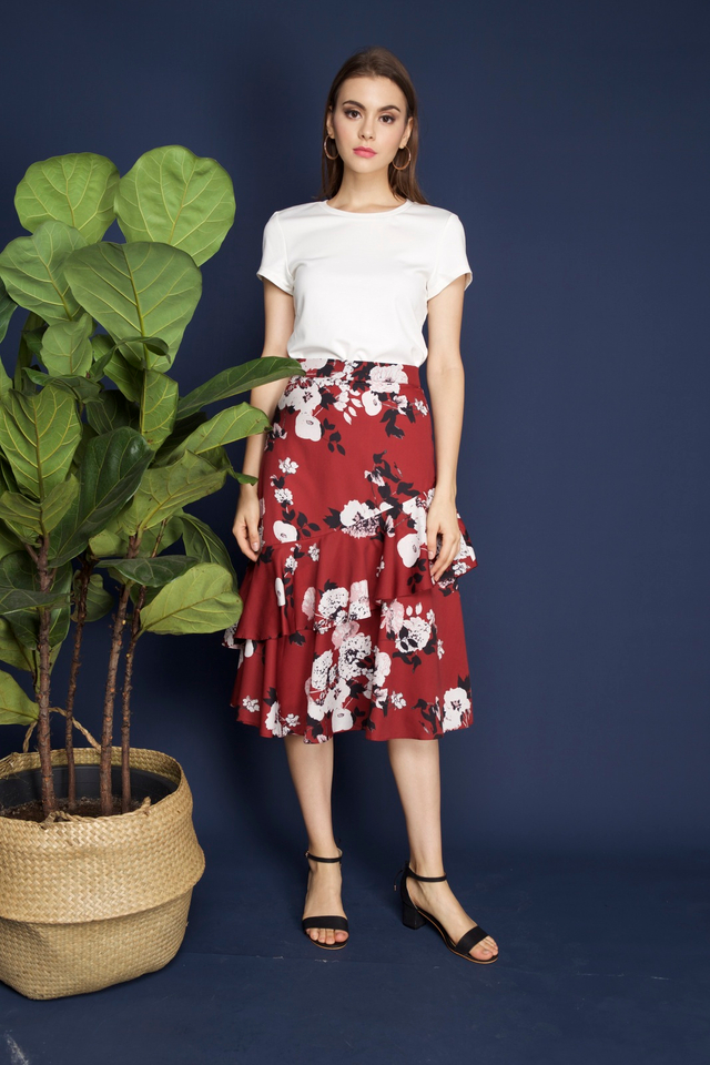 Shantel Floral Tiered Midi Skirt in Wine Red