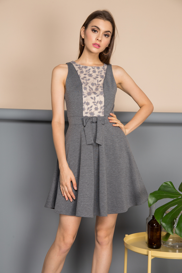 Xenia Front Ribbon Dress in Grey