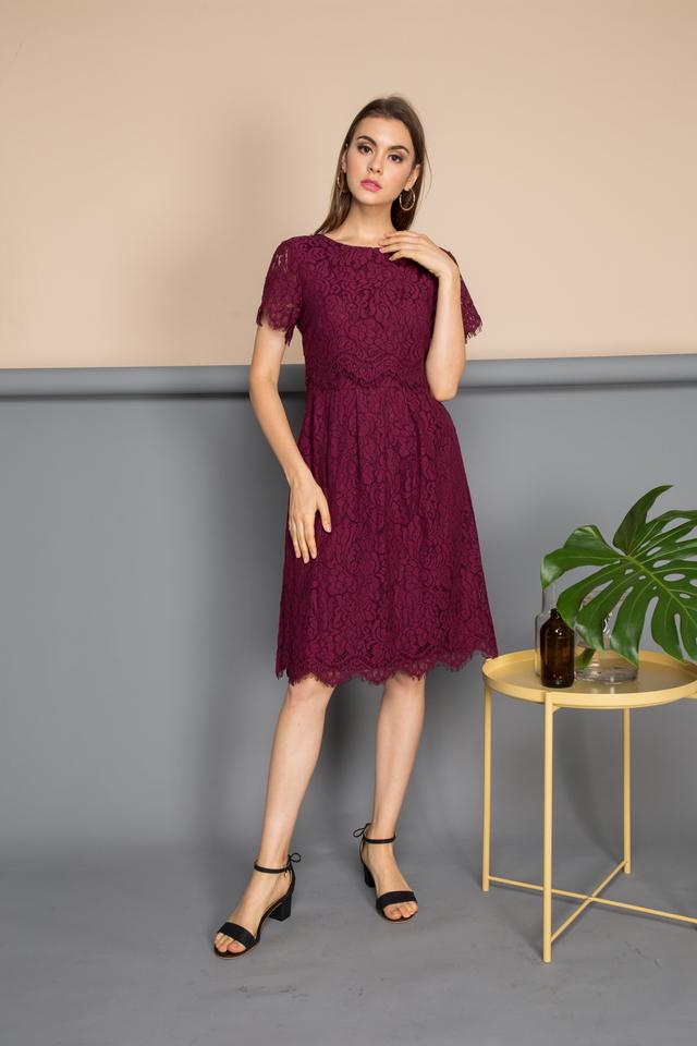 Corinna Lace Midi Dress in Maroon