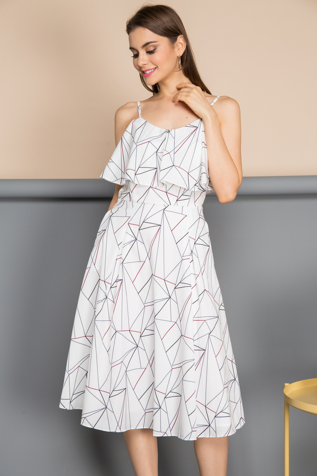 Ivana Ruffles Line Dress in White (L)