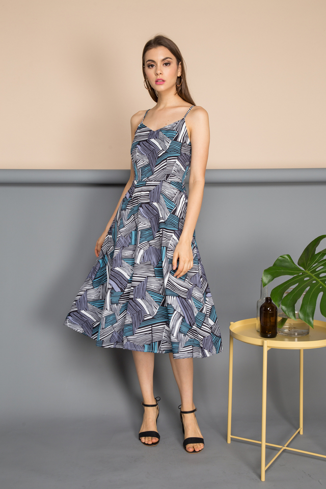 Elan Geometric Stripes Midi Dress in Turquoise