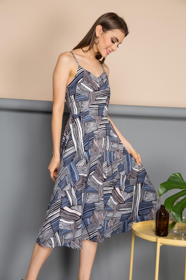 Elan Geometric Stripes Midi Dress in Blue