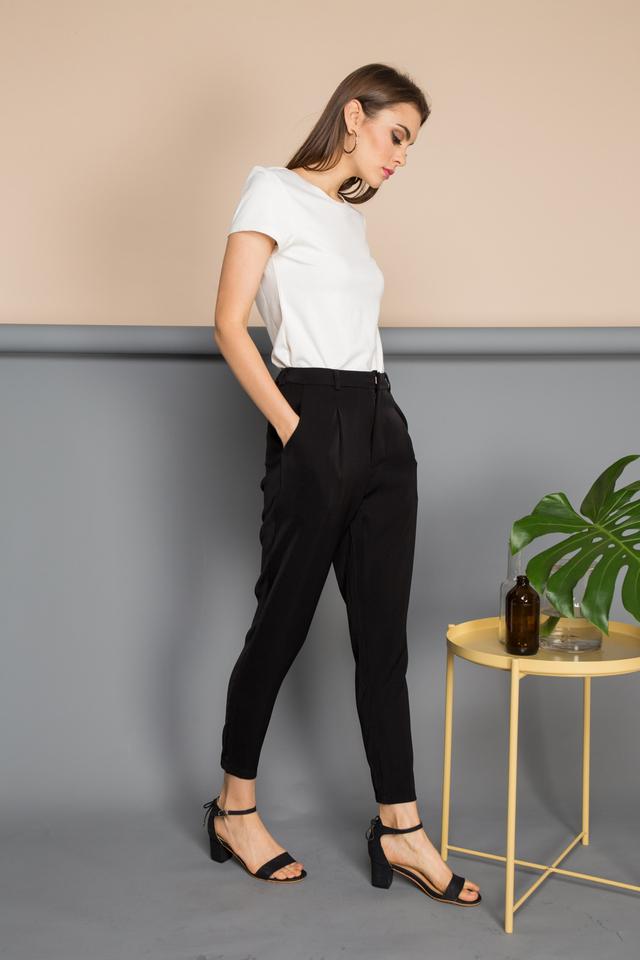Vanna Drape Jogger Pants in Black