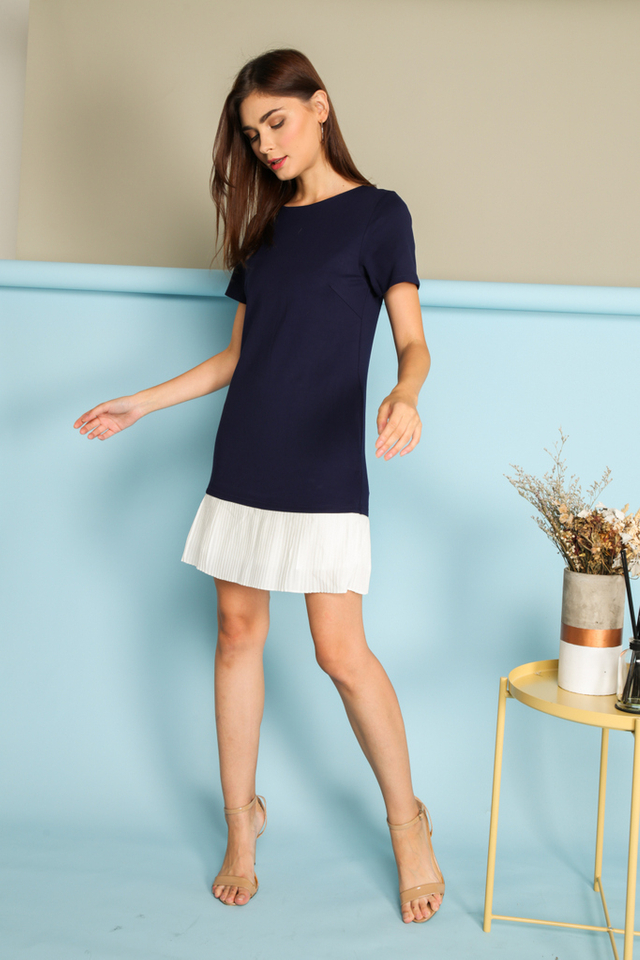 *BACKORDER* Calandra Pleated Hem Dress in Navy Blue